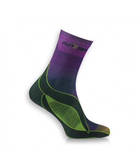 Medium green / purple running socks
