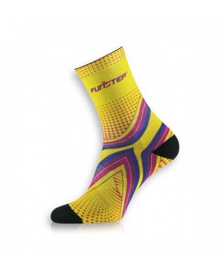 Medium yellow / purple running socks