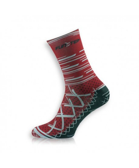 Medium Red / Gray Cycling Socks