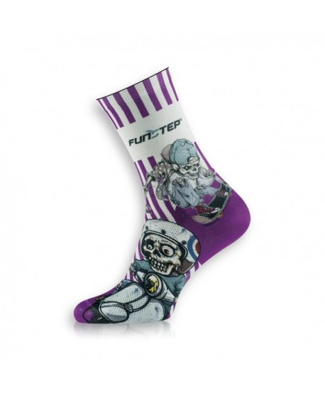 White / purple patterned socks