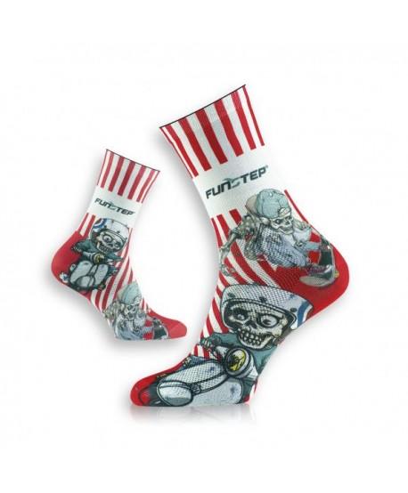 White / red patterned socks