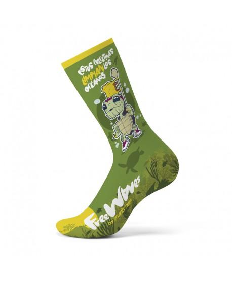 Calcetines divertidos verde tortuga