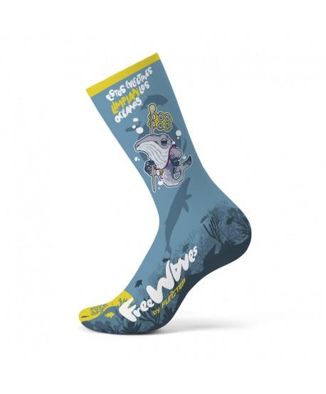 Calcetines divertidos azul Ballena