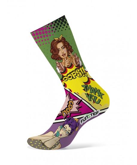 Green / pink patterned socks