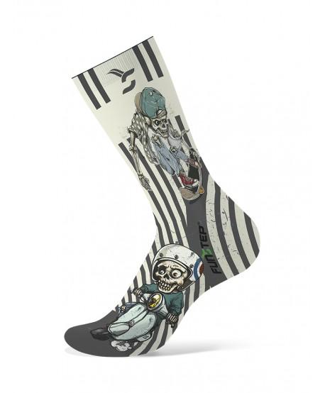 White / gray patterned socks