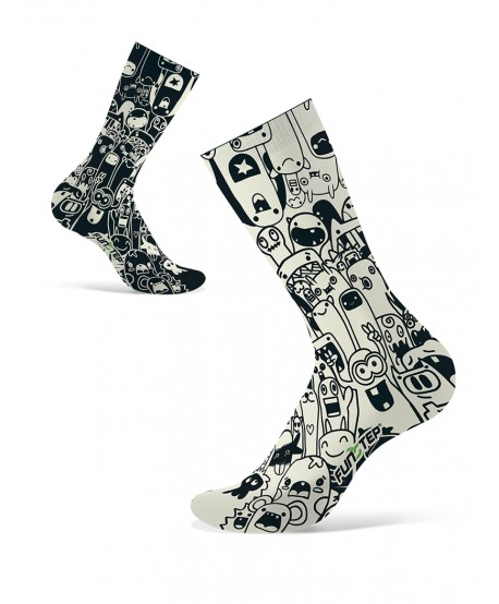 Calcetines divertidos negro/blanco roto