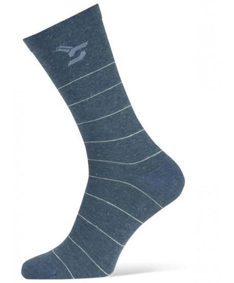 Calcetín de ciclismo de rayas azul oscuro